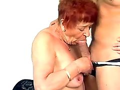 Old whore gives good head to man