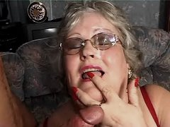 Old fat granny tastes cum after sex